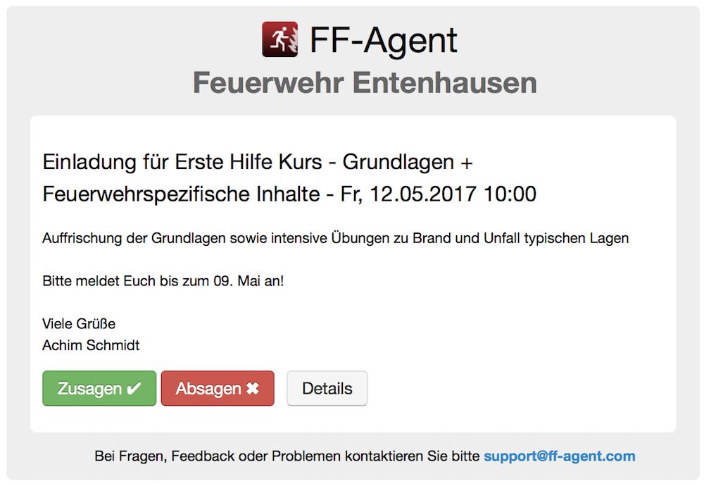 ff-agent | einsatzalarmierung & ff-informationssystem, Einladung